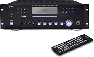 4 Channel Pre Amplifier Receiver-1000 Watt Compact Rack Mount Home Theater Stereo Surround Sound Preamp Receiver W/Audio/Video System, CD/DVD Player, AM/FM Radio, MP3/USB Reader-Pyle PD1000A.5, Black