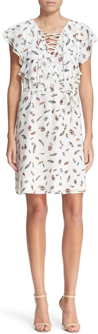 The Kooples Silk Dress Feather Print Flutter Sleeve, White/Multi, XX-Small