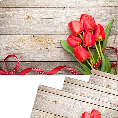 matches21 Tischset Platzset Sommer MOTIV Strauß rote Tulpen auf Holz 4 Stk. Kunststoff abwaschbar je 43,5x28,5 cm