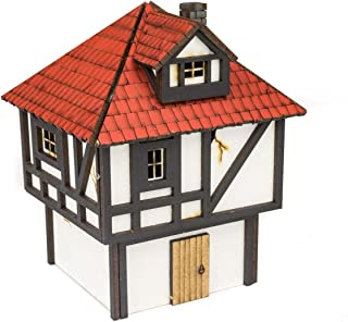 War World GamingMedieval Town Small Town House (Painted) – 28mm Heroic Scale MDF Fantasy Wargame Terrain Model Diorama Ta...