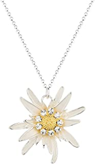 luomart Fashion Flower Edelweiss Pendant Necklace&Earrings Silver&18K Gold Plated Two Tone …
