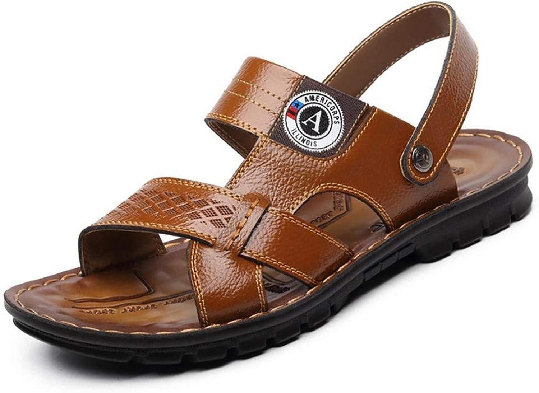 FuweiEncore Men's Slippers & Flip Flops Comfort Leather shoes Casual Flat Heel Light Brown Yellow Black Walking (color   Yellow, Size   42)