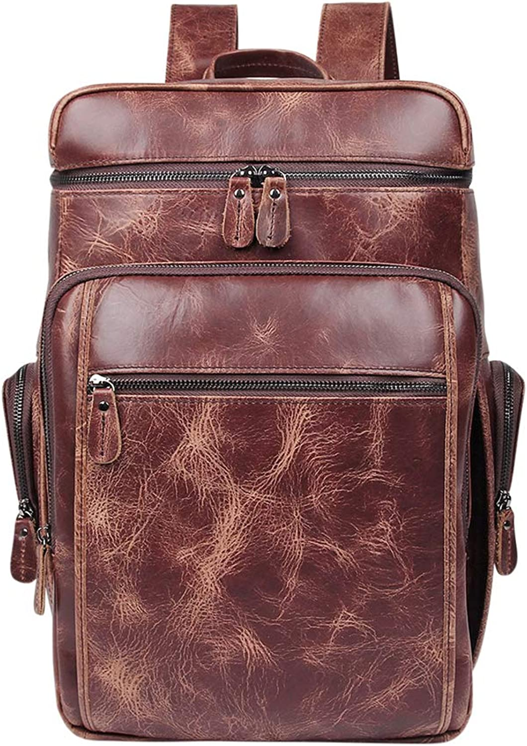 Genda 2Archer Genuine Leather Men's Laptop Backpack Overload Heavy Travel Bag (Brown)