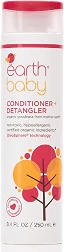 Earth Baby Conditioner + Detangler, Hypoallergenic for Sensitive Skin, Natural and Organic, for Babies Toddlers and K...