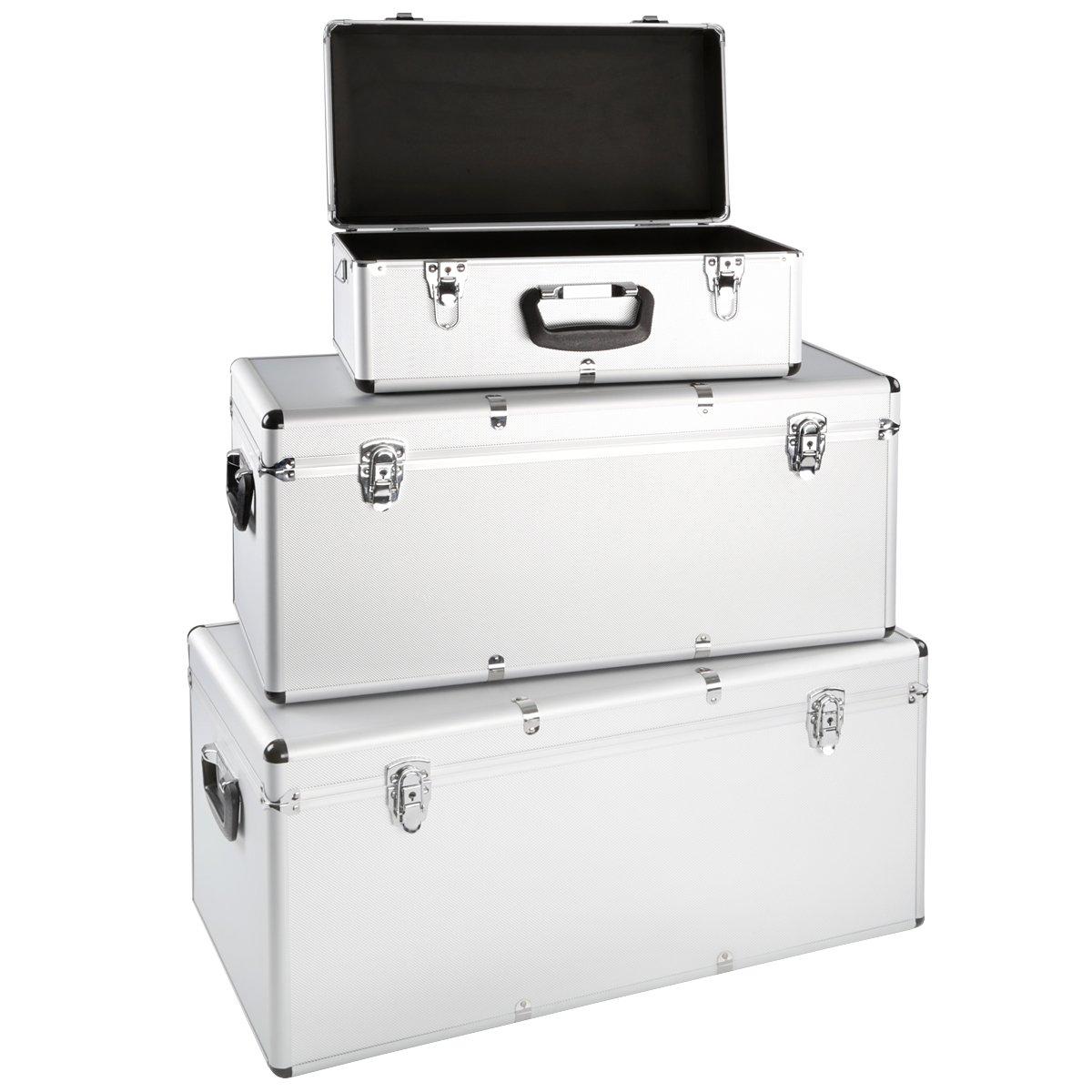 Juego de 3 cajas de aluminio para herramientas (aluminio caja de transporte Caja de almacenamiento Caja de almacenamiento con cerradura: Amazon.es: Bricolaje y herramientas