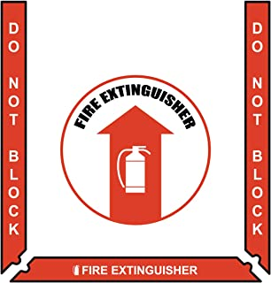 Fire Extinguisher Floor Marking Kit - Incl. 3 pc. Red Bkgd/White Border (2'') and 17.5'' Sign - Vinyl