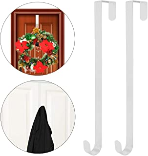 GKanMore 2 Pack Front Door Wreath Hanger Hook Metal 15 Inch Over The Door Hook for Christmas and Party Decoration, Hanging Clothing, Towels, Wreaths, Bags (White)