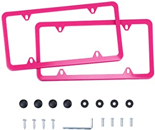 LivTee 4 Holes Stainless Steel License Plate Frames, 2 PCS Car Licence Plate Covers Slim Design with Bolts Washer Caps for US Vehicles, Pink