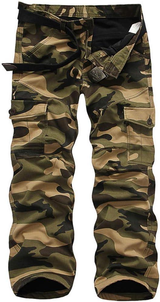 Teinaongsy Coton épais Militaire Hommes Style de Camouflage Plus Size Jogger Pantalon Cargo Pants Black-White