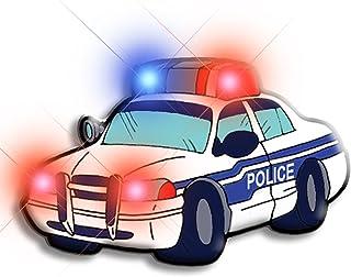 Light Up Police Car Flashing Blinking LED Body Light Lapel Pins (5-Pack)