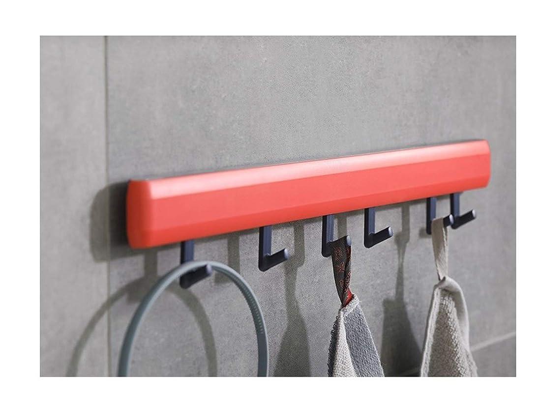 十代リーク技術的な浴室のフック強力な接着剤クリエイティブ壁掛け無料パンチングフックドアフックフック痕跡のない爪キッチンフック (Color : Red)