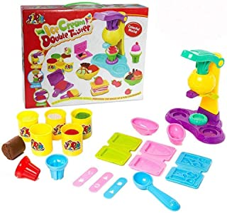 SKEIDO Children Play Modeling Dough Ice Cream Double Twister Playset Toys Deluxe Plasticine Mud with Bonding Clay and Molds