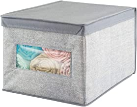 mDesign Fabric Closet Storage Organizer Box for Clothing Shoes Handbags Jeans - Large Gray
