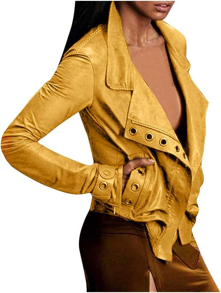 Kinple Leather Jacket, Women's Faux Leather Motorcycle Jacket PU Slim Short Biker Coat