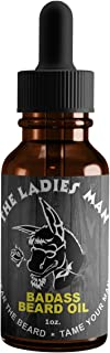 Badass Beard Care Beard Oil for Men - The Ladies Man Scent, 1 oz - All Natural Ingredients, Keeps Beard and Mustache Full,...