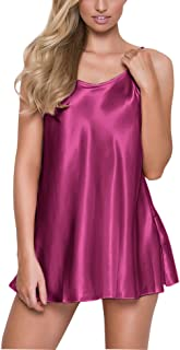 RSLOVE Satin Lingerie for Women Chemises Nightgown Sexy Sleepwear Mini Slip Short Silk Nightwear