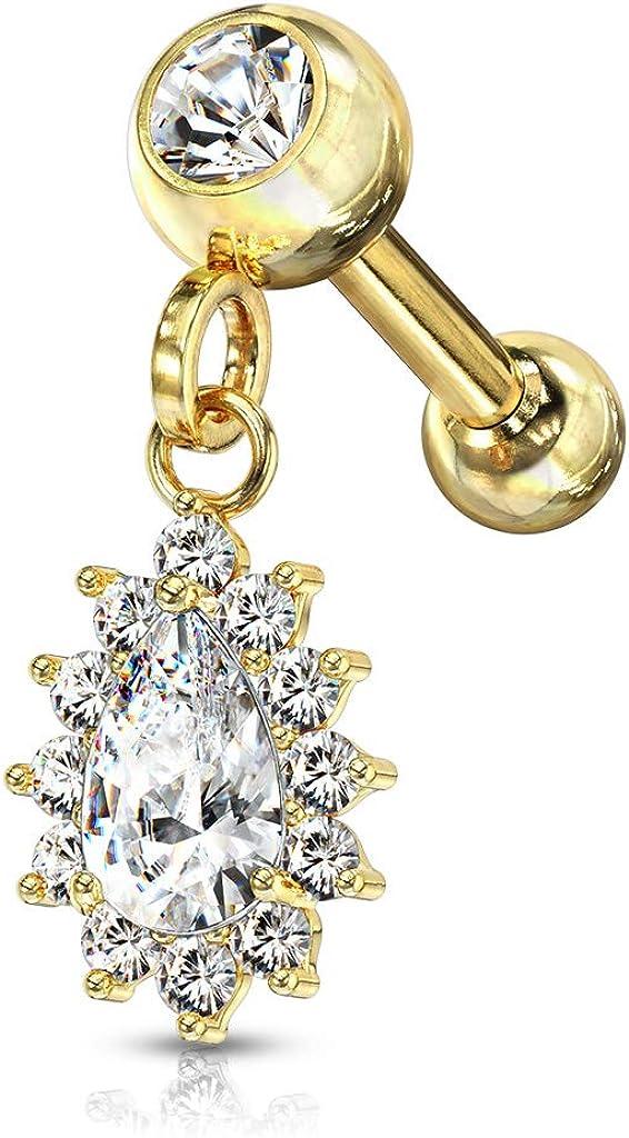 Amelia Fashion 16 Gauge Jeweled Set Pear CZ Cartilage/Tragus 316