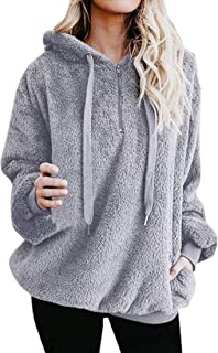 Women's Casual Loose Long Sleeve Hoodies Winter Warm Fluffy Fleece Zip Oversize Top Hoodie Sweatshirt Pullover with Pocket...