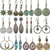 meekoo 12 Paires Boucles d'oreilles Bohème Boucles d'oreilles Vintage Boucles d'oreilles de Turquoise Pendantes Creuses en Métal pour Femmes Filles (Set de Style 2)