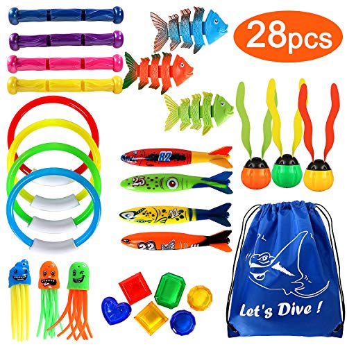 vamei 28 Stück Tauchspielzeug für Kinder Unterwasser Pool Spielzeug Set Tauchringe Tauchstäbe Torpedo Bandits Tauchfisch Tauchbälle Tauchen Lernen Sommer Schwimmbad Spielzeug mit Tragetasche