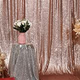 Poise3EHome 6FT x 8FT Sequin Photography Backdrop Curtain for Party Decoration, Rose Gold
