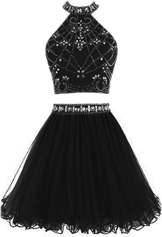 LEJY Halter Mini Homecoming Dress Beaded Two Pieces Prom Dress Short