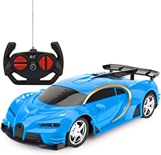 Remote Control Car, RC Cars Gifts for Kids Electric Sport Racing Hobby Toy Car Red/Blue Model Vehicle for Boys Girls Adults with Lights and Controller (Blue)