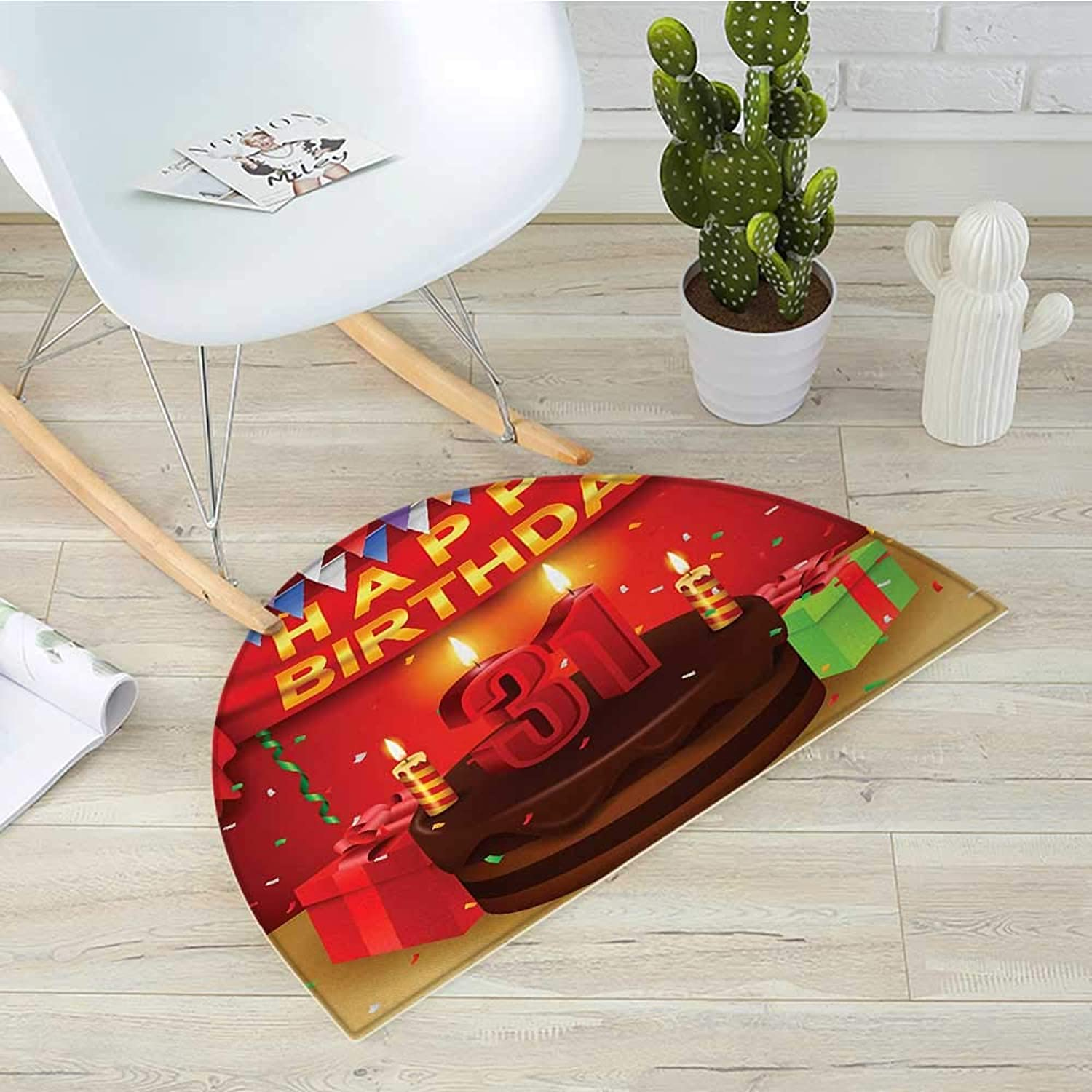 31st Birthday Semicircular Cushioncolorful Vibrant Party Set Up Presents Candles Flags Festive Confetti Rain Entry Door Mat H 35.4  xD 53.1  Multicolor