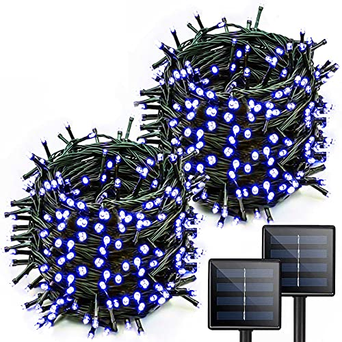 Blue Solar Halloween Lights Outdoor Halloween Decorations, 2-Pack Each 72ft 200 LED Solar String Lights, 8 Modes Solar Lights Outdoor Decorative for Tree Garden Patio Party (Blue)
