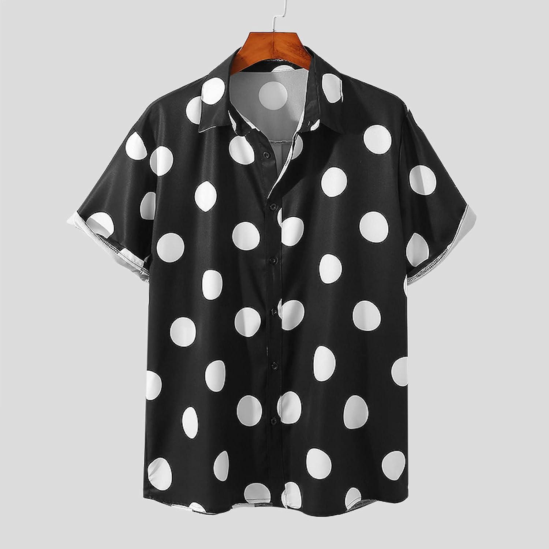 Camisa Hawaiana para Hombre con Estampado De Lunares De Manga Corta - Verano Streetwear Solapa Ropa De Vacacio