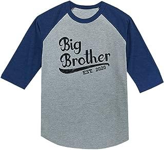 Gift for Big Brother 2020 Boys 3/4 Sleeve Baseball Jersey Toddler Shirt