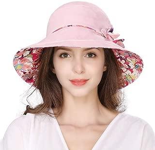 Womens Packable Bucket Travel Cotton SPF Sun Hat Chin Strap SPF Fishing Bonnet 56-58cm