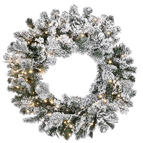 National Tree PESL3-315DK24WB Christmas Wreath, 24 in, Snowy Green