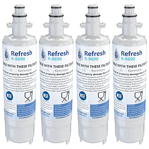 Refresh Replacement Refrigerator Water Filter Compatible with Kenmore 46-9690, ADQ36006102 and LG LT700P, ADQ36006101 (4 Pack)