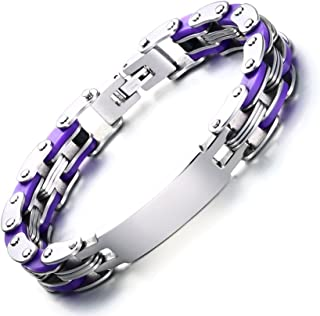 MP Men's Stainless Steel Personalized Bicycle Bike Chain Link ID Identification Bracelet