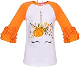 Boutique Clothing Girls Halloween Thanksgiving Christmas Ruffles Sleeves Ruffles Raglan Tshirt Fashion Top