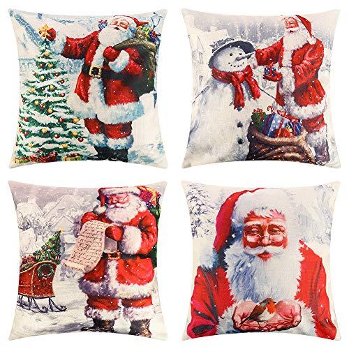 falllea 4 Pcs Christmas Pillow Cover Decorative Cotton Linen Sofa Pillow Case Cushion Cover Christmas Snowflake Sofa Cushion Cover Home Deco