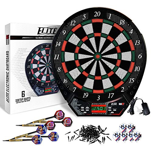 ONE80 Elite Electronic Dartboard with Durable Tough Segment for Long Life Usage, Deluxe Control Panel with LCD Display, 6 Brass Softtip Darts, 6 Extra Flights and 100 Spare Points