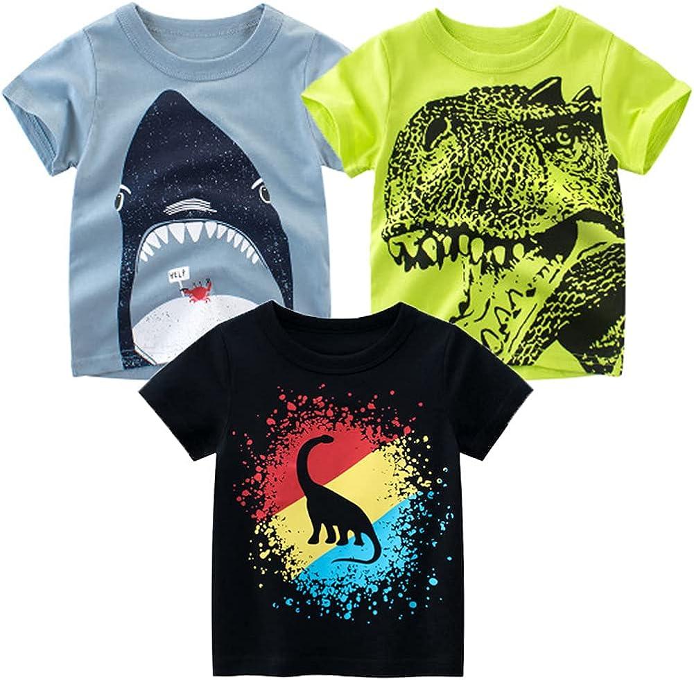 NAUTYSAURS Toddler Boys Dinosaur Shark T-Shirts Graphic Short Sleeve Tops Car Excavator Tees