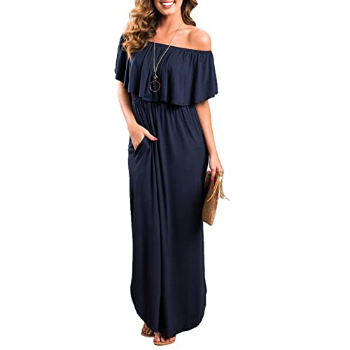 b243c019ac Oyanus Womens Off The Shoulder Ruffles Pockets Dress Side Split Maxi Dresses