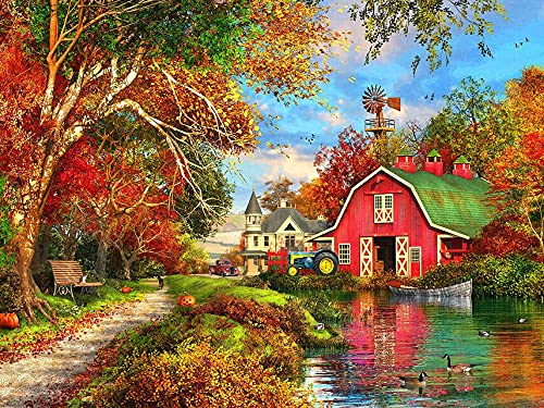 Digital painting of house landscape, suitable for adults, children, with brush, acrylic paint, home wall art decoration D-4 50x65cm