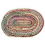Umi. Alfombra reversible de yute y algodón, multicolor, tejida a mano, trenzada, los colores pueden variar (60 x 90 cm, algodón + yute, multicolor (ovalado)