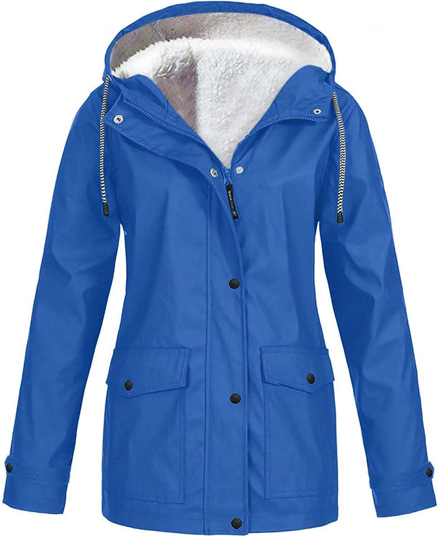 Womens Lightweight Plush Waterproof Rain Jacket Active Outdoor Hooded Windbreaker Pocket Quick Drying Coat Plus Size