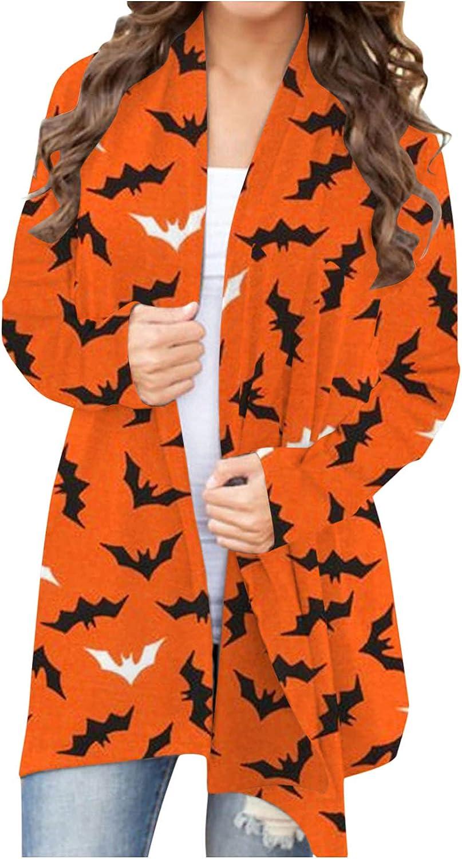 Womens Halloween Funny Cute Pumpkin Skeleton Ghost Graphic Tops Long Sleeve Open Front Cardigan Blouse Lightweight Coat