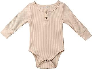 Newborn Unisex Baby Solid Onesies Basic Plain Rib Stitch Long Sleeve Bodysuit Clothes for Infant Boy Girl
