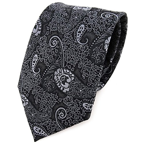 TigerTie - Corbata - antracita negro gris plata Paisley modelada