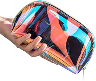 Clear Makeup Bag Transparent Holographic Cosmetic Bag Organizer Travel Hologram Make-up Storage Cases Large Iridescent Clutch Purse Toiletries Pouch Shell Handbag for Women