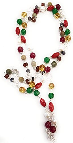 AC Navratna Mala Semi Precious Stones With AAA+ (27 Inches, Multicolor)