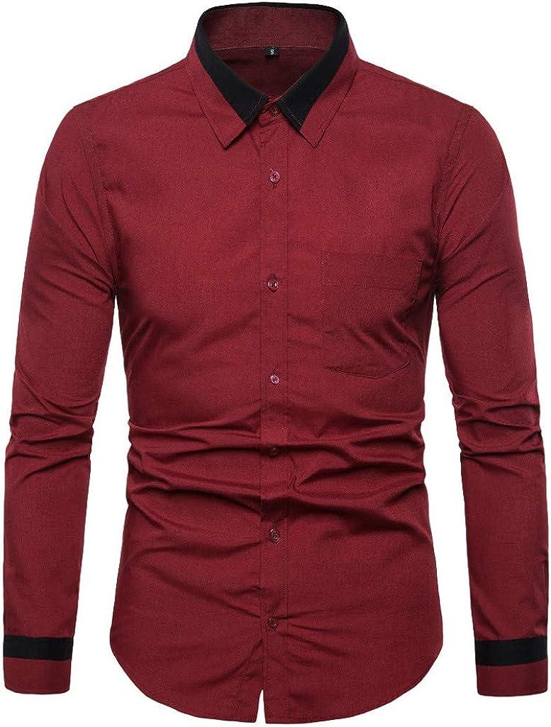 MODOQO Men's Dress Shirts Slim Fit Long Sleeve Button Down Shirt