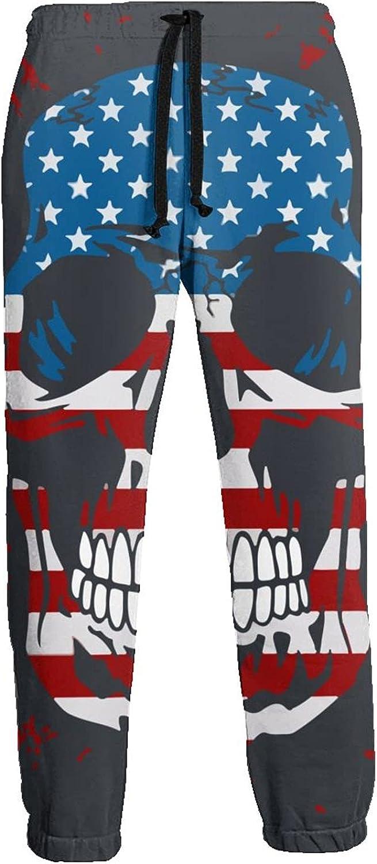 Mens Elastic Waist Sweatpants American Skull Joggers Sweatpants for Gym Training Sport Pants